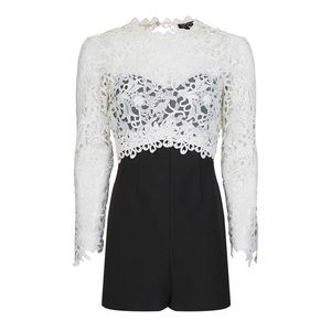 Topshop Pants - NWT Topshop Lace Panel Romper Black White Jumpsuit