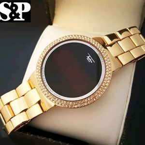 Iced Out Digital Touch Screen Gold Plated Watch