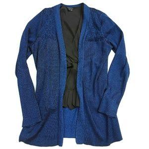 Karl Lagerfeld Sweaters - Karl Lagerfeld cardigan blue black lace knit M