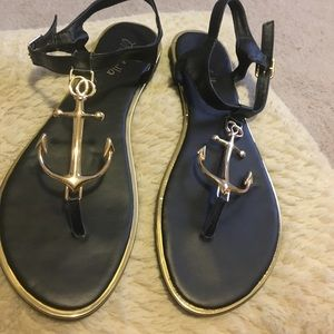 Shoes - Anchor sandals black and gold size 8