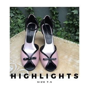 Highlights Shoes - Highlights Pink & Black Bow Tie Heels