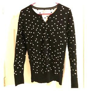 Merona black and white polka dot fitted sweater