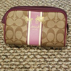 Coach cosmetic case beige purple stripe