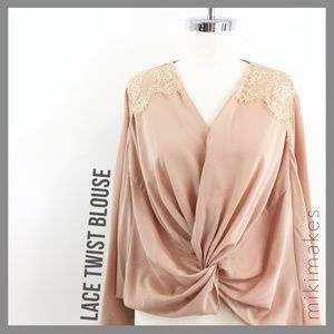 [ esley ] pink twist front lace shoulder wrap
