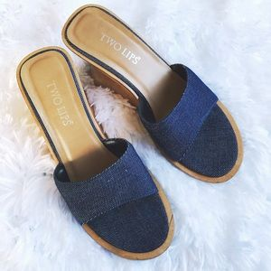 Two Lips Shoes - Two Lips Fortune Blue Demin & Wood Slide Wedges