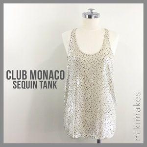 [ club monaco ] clear sequin racerback top