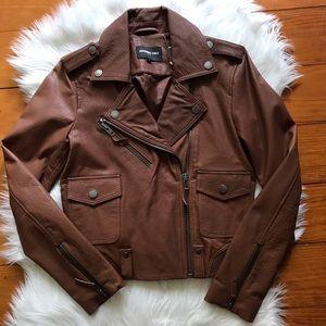 Genuine Leather Members Only Brown Moto Jacket