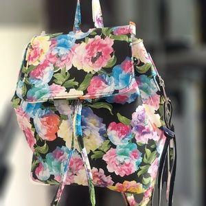 Handbags - Floral flower print mini backpack pink blue black
