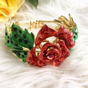 Jewelry - Belle rose bracelet bangle with rhinestones