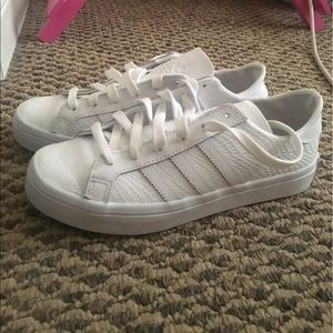 adidas Shoes - ADIDAS white snake embossed sneakers
