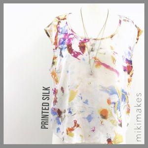 [ matty m ]  boxy silk abstract print blouse