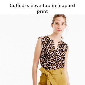 J. Crew Tops - J. Crew cuffed sleeve leopard top in silk