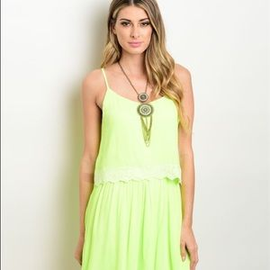 Sugarlips Dresses & Skirts - Nwt The Pink Reef Lime Green Lace Dress