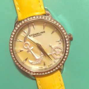 Stuhrling Original Accessories - Stührling leather watch with Swarovski Crystals