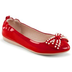 Shoes - Pearl Bow Pin Up Shoes Pointy Ballet Flats Red