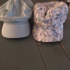 Accessories - Set Of 2 Blue Floral Paperboy Cabbie Summer Hats