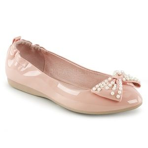 Shoes - Pearl Bow Pin Up Shoes Pointy Ballet Flats Pink
