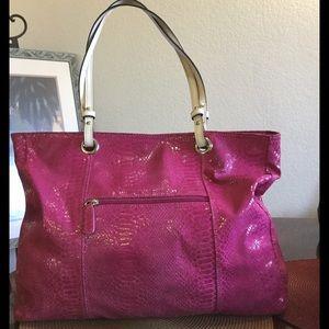 Wilsons Leather Handbags - Wilson Leather Snakeskin Pink Tote