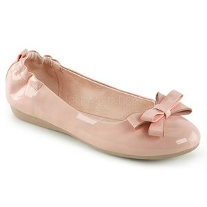 Shoes - Bow Pin Up Shoes Ballet Flats Vintage Light Pink