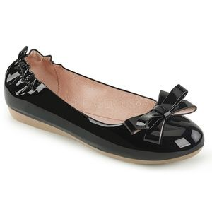 Shoes - Bow Pin Up Shoes Round Toe Ballet Flats Black