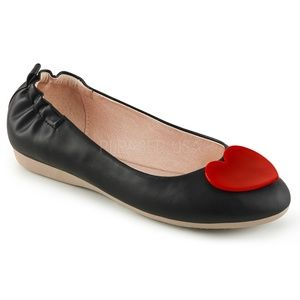 Shoes - Heart Pin Up Shoes Round Toe Ballet Flats Black