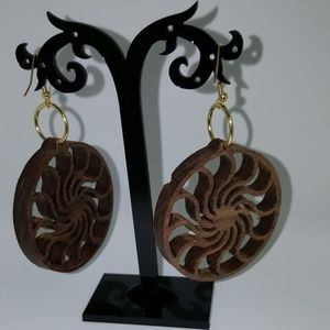 WoodToolsWorkshop.com Jewelry - Swirl Boho Walnut Earrings