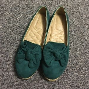 Ollio Shoes - Bow flats (green)