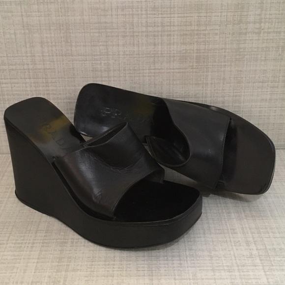 9841fa245f2 Vintage PRADA 90 s Leather Platform Wedges Size 5.  M 5945ecd8d14d7b17ea09544c