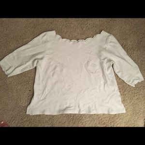 Anthropologie white top with scalloped edges