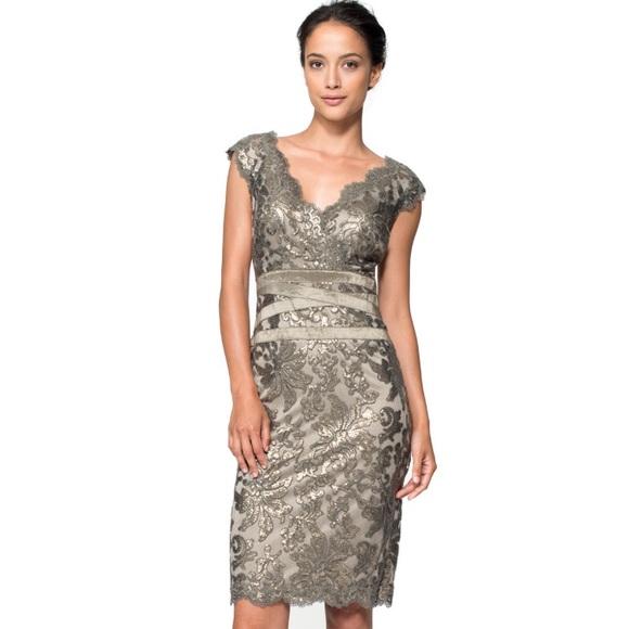 b7306dd127b8 Tadashi Shoji Navy Nude Lace Sheath Dress! M 5945ee296d64bcd05e03248a