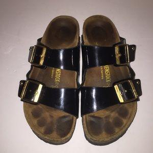 Birkenstock Shoes - Birkenstock Black Patent Arizona Sandals 9/40
