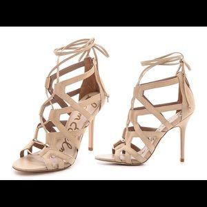 Sam Edelman Almira Lace Up Nude Suede Sandal Heels