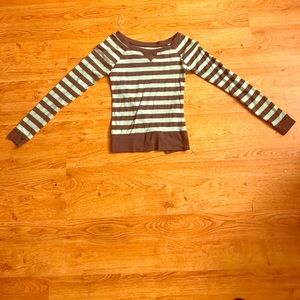 Blue and grey striped long sleeve shirt