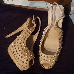 Kurt Geiger new nude studded sling back heels 8