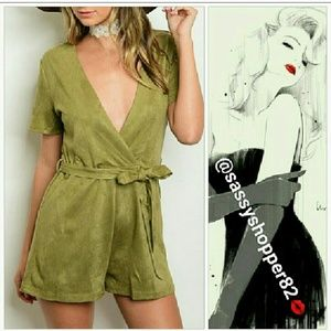 Pants - 🌟🆕'CHARLIZE' Olive green suede romper