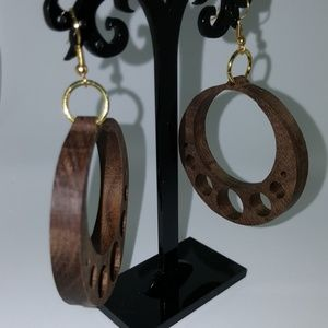 WoodToolsWorkshop.com Jewelry - Round with Circles Earrings in Walnut