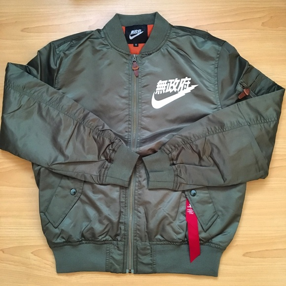 details for good quality 100% authentic Nike Jackets & Coats | Air Tokyo Bomber Jacket Olive Green Large ...