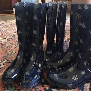 eb54eb75d2b Toms Shoes - Women s TOMS CABRILLA Blue Raindrop Rain Boots NEW