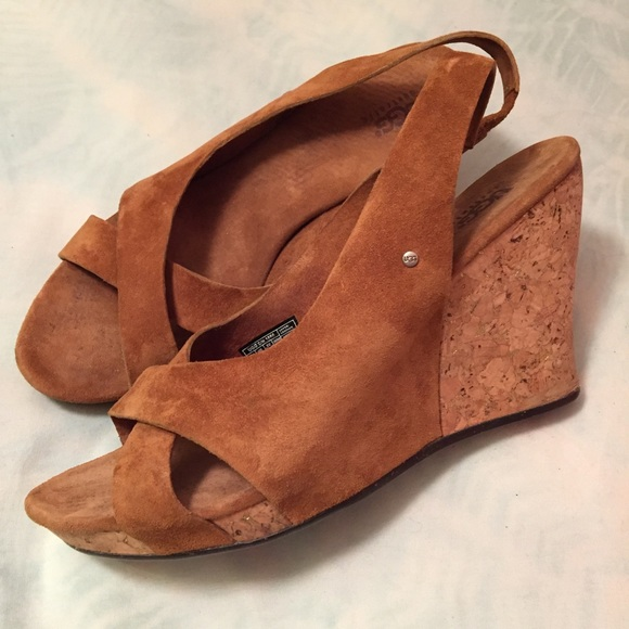 7b2ede82fc Ugg Cork Wedge Suede Sandals