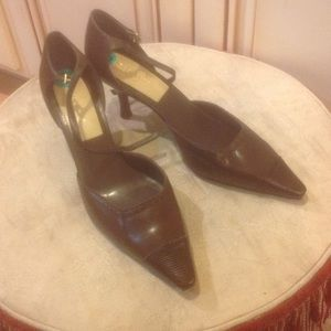 Liz Clairborne brown sling back shoes Sz 8