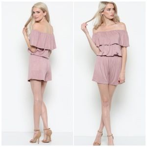 Mauve Off Shoulder Knit Romper