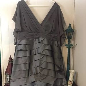 Adrianna Papell Dresses & Skirts - Adrianna Papell Tiered Sheer Grey Silk NWT