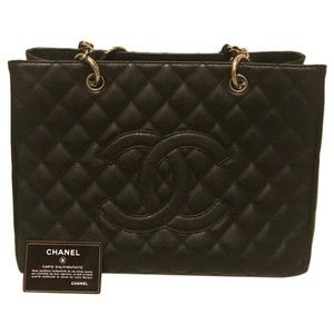 Authentic CHANEL GST size medium silver hardware