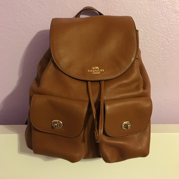 5f50d7f67f15 ... italy coach billie pebble leather backpack in saddle 6d627 91ae0