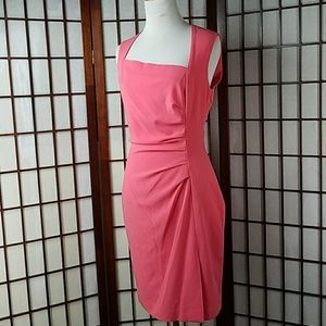 BEBE Salmon Orange Sleeveless Lined Sheath Dress