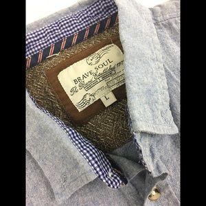 Brave Soul Tops - Brace Soul denim shirt with elbow patches
