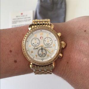 Michele Accessories - Michele gold diamond CSX chronograph watch