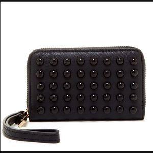 Pink Haley Handbags - Pink Haley Black Studded Wristlet Wallet