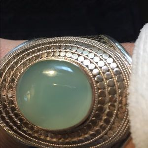 Anna Beck Jewelry - Chalcedony & sterling silver cuff w/copper accent