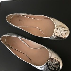 Tory Butch Reva Silver Ballet Flats
